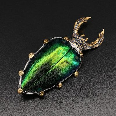 Sterling Sapphire Beetle Brooch