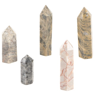Calcite, Marble, and Larvikite Polished Point Specimens