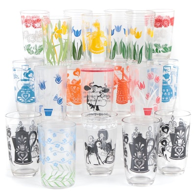 Decorated Floral Motif and Other Juice Glass, Mid-20th Century