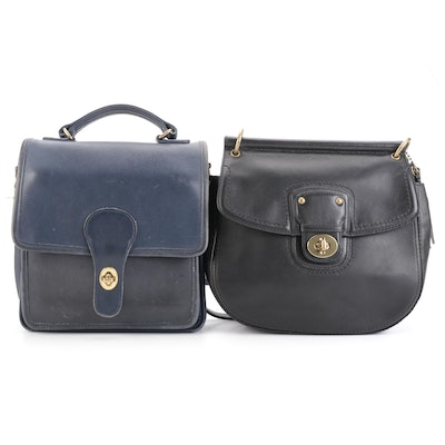 Coach Legacy Willis and Station Two-Way Bags in Black and Blue Leather