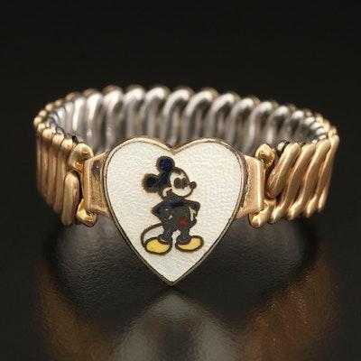 Vintage Cartoon Mouse Enamel Expandable Bracelet