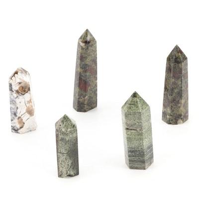 Dragon Blood Jasper, Agate, and Serpentine Polished Point Specimens