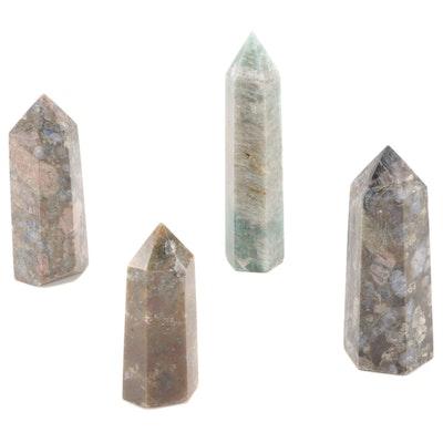 Brecciated Jasper, Jasper, and Amazonite Polished Point Specimens