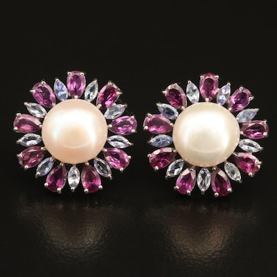 Sterling Pearl Button Earrings with Garnet and Tanzanite