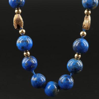 14K Lapis Lazuli Beaded Endless Necklace