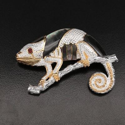 Sterling Mother of Pearl, Garnet and Sapphire Chameleon Converter Brooch