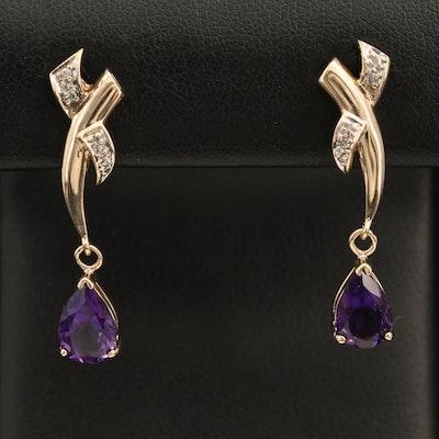 14K Amethyst and Diamond Crossover Earrings