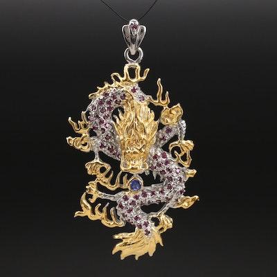 Sterling Tanzanite and Garnet Dragon Pendant