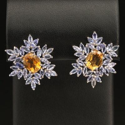 Sterling Citrine and Tanzanite Snowflake Earrings