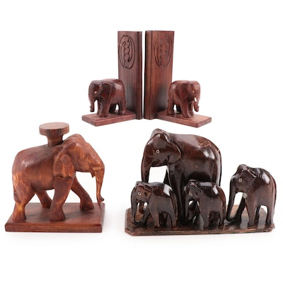 Carved Wooden Elephant Figural Bookends and Figurines