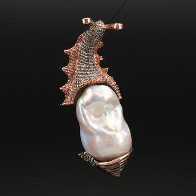 Sterling Pearl and Garnet Snail Pendant