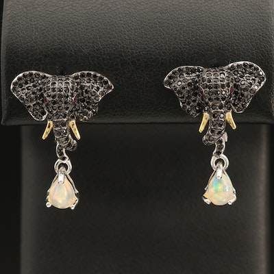 Sterling Elephant Earrings with Opal, Spinel and Sapphire