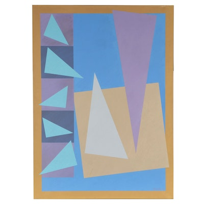 """Walter Stomps Monumental Geometric Abstract Acrylic Painting """"Sequence II,"""" 1984"""