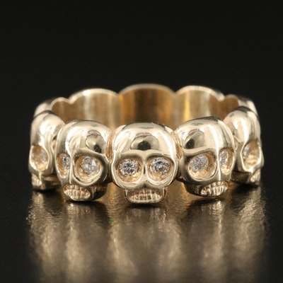 14K 0.40 CTW Diamond Skull Eternity Band