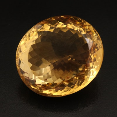 Loose 97.28 CT Oval Faceted Citrine