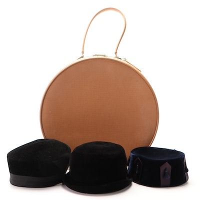 Starline Hat Case with Christine Original and Levy's Velvet Pillbox, Bowler Hats