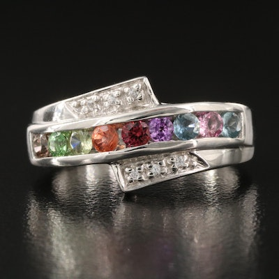 Sterling Silver Fancy Sapphire and White Zircon Bypass Band