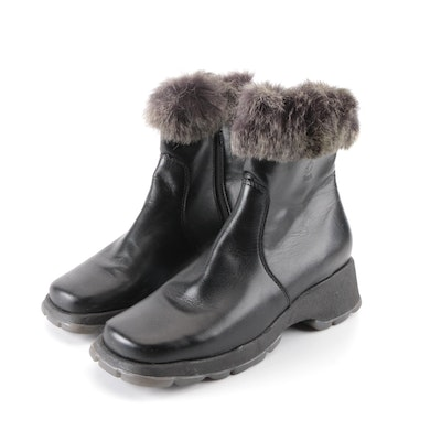 Blondo Waterproof Leather Ankle Boots with Rabbit Fur Trim