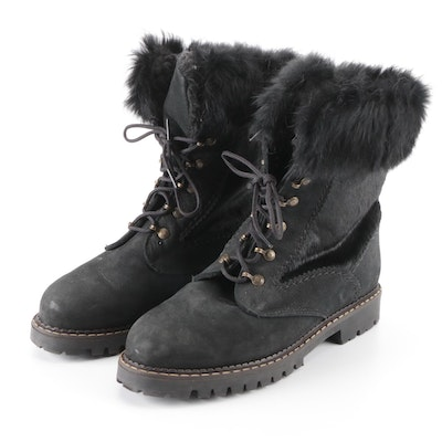 Sorel Lace-Up Lug Sole Boots with Calf Hair and Rabbit Fur Trim