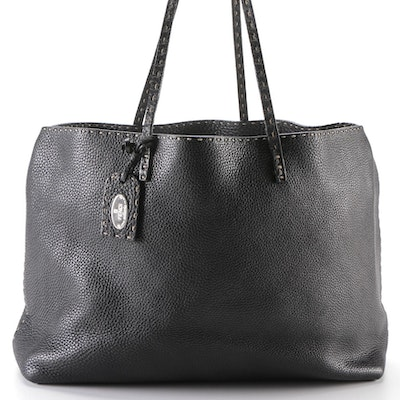 Fendi Selleria Roll Black Grained Leather Tote Bag with Contrast Topstitching