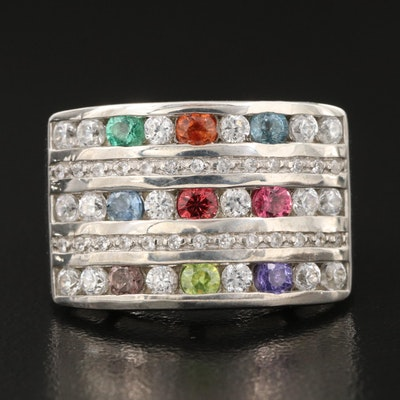 Sterling Gemstone Ring with Sapphire, White Zircon and Tsavorite