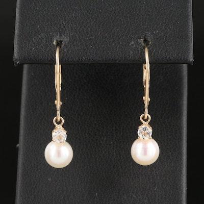 14K Pearl and Topaz Earrings