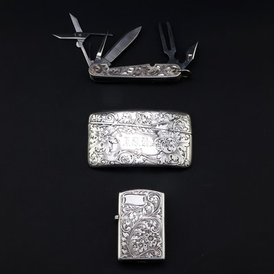 Reed & Barton and Other Sterling Silver Vesta, Utility Knife, 800 Silver Lighter