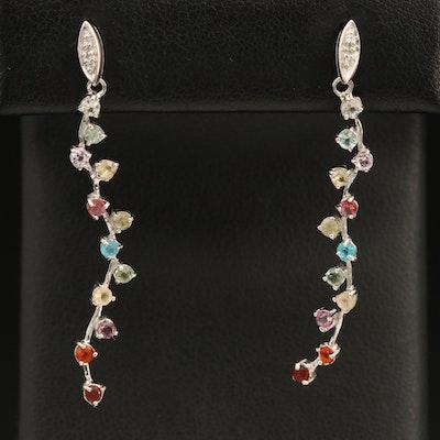 Sterling Gemstone Trailing Earrings