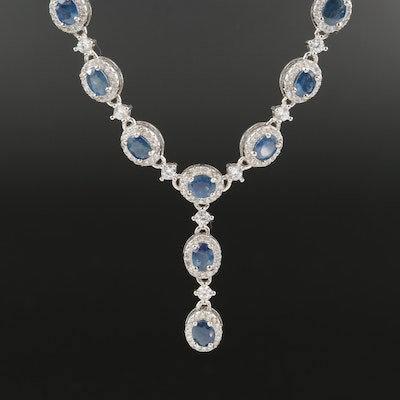 Sterling Sapphire and Cubic Zirconia Drop Necklace