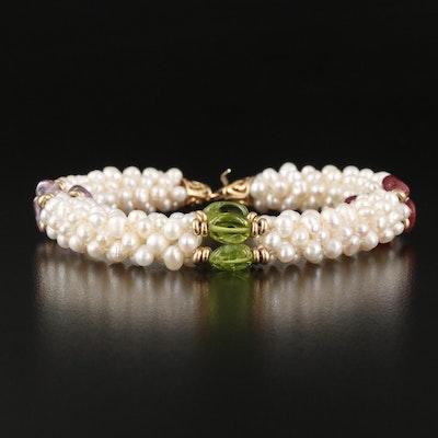 14K Pearl, Peridot, Amethyst and Tourmaline Bracelet