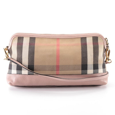 """Burberry Abingdon """"House Check"""" and Pink Leather Convertible Crossbody Clutch"""