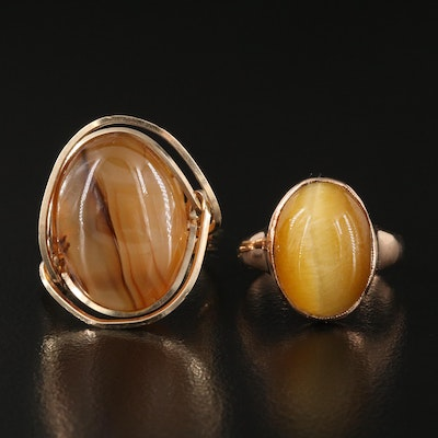 14K Cat's Eye Quartz Dome Ring with Agate Wire Ring