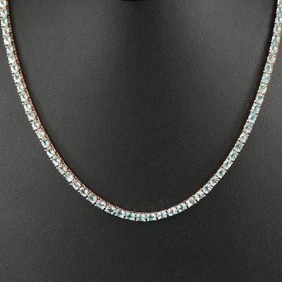 Sterling Aquamarine Line Necklace
