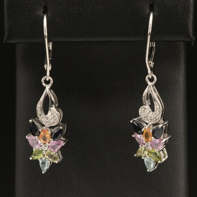 Sterling Gemstone Earrings with Sapphire and Aquamarine