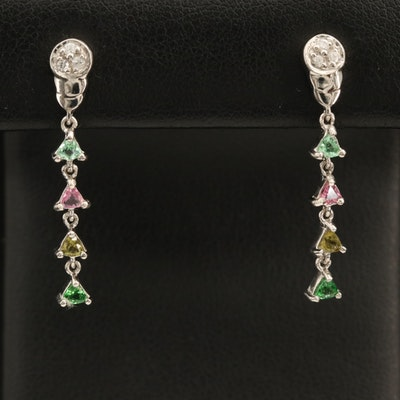 Sterling Gemstone Earrings with Tourmaline, Tsavorite and Zircon