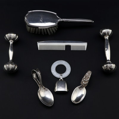 Webster Teething Ring with Other Sterling Rattles, Baby Spoons and Vanity Set
