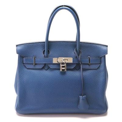 Hermès Birkin 30 in Bleu Brighton Clemence Leather and Palladium Hardware