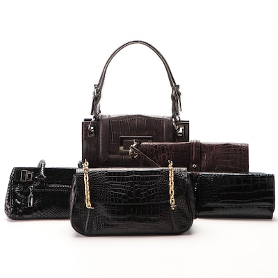 Stuart Weitzman and Talbots Reptile Embossed Shoulder Bags, Wallets, and Clutch