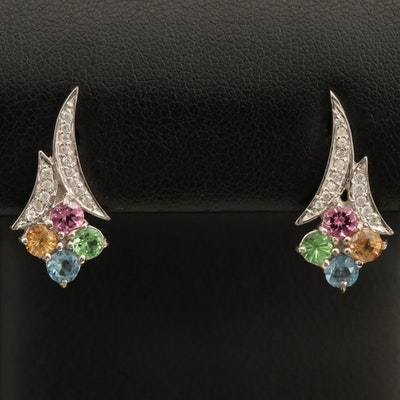 Sterling Gemstone Earrings with Tourmaline, Sapphire and Zircon