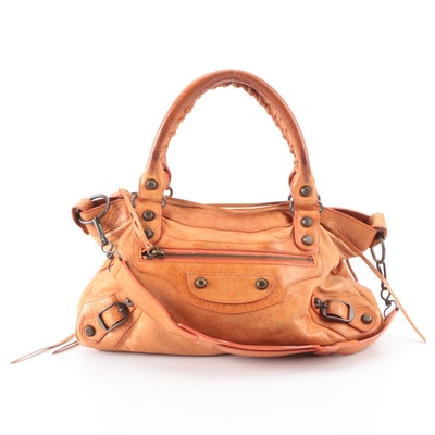 Balenciaga Agneau Classic City Bag Small in Orange Lambskin