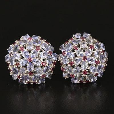 Sterling Silver Tanzanite and Garnet Button Flower Earrings