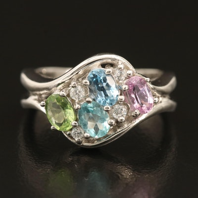 Sterling Gemstone Ring with Apatite and Sapphire