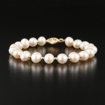 Oval Pearl Bracelet with 14K Clasp and Spacer Beads