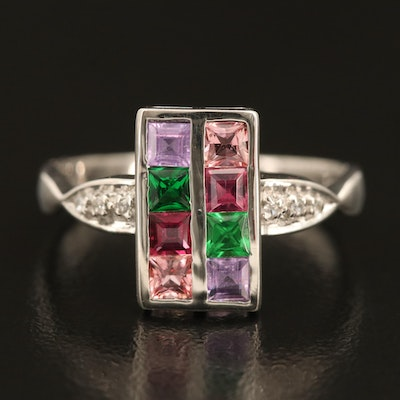 Sterling Gemstone Ring with Tourmaline, Sapphire and Zircon