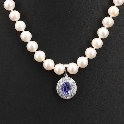 Sterling Tanzanite, Zircon and Pearl Necklace