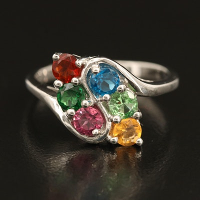 Sterling Gemstone Ring with Apatite, Tourmaline and Opal