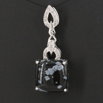 Sterling Silver Snowflake Obsidian and White Topaz Pendant