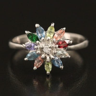 Sterling Gemstone Ring with Sapphire and Zircon