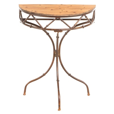 Patinated Metal and Split-Bamboo Demilune Side Table