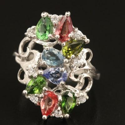 Sterling Gemstone Openwork Ring